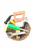 Tools in basket Royalty Free Stock Photography