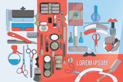 Tools for beauty care. Flat design Royalty Free Stock Images