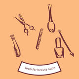 Tools for beauty salon. There are any objects for beauty salon and tools of hairdresser Royalty Free Stock Photos