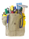 Tools in belt bag on white Royalty Free Stock Photo