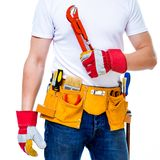 Tools belt holding Stock Photo