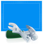 Tools blueprint construction background Stock Photography