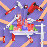 Tools box. Flat design concept construction building tower with tools. Vector illustrate Stock Photo