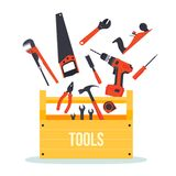 Tools box with instruments. Flat wooden hardware tools box with tools flying around Stock Photos
