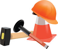 Tools for building. Median cone helmet hammer and tool accessories Stock Photography