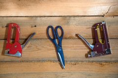 Tools for building on wooden background of pine forest Royalty Free Stock Images