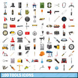 100 tools business icons set, cartoon style Royalty Free Stock Photos