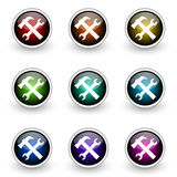 Tools button set Royalty Free Stock Photos