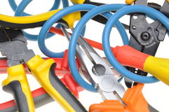 Tools and cable used in electrical installations Stock Photos