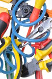 Tools and cable used in electrical installations Royalty Free Stock Images