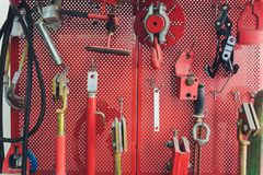 Tools for Car arranged on the wall. stock image