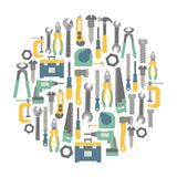 Tools card. Round design element with tools icons Stock Images