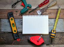 Tools for carpenter. Labor tool on wood Royalty Free Stock Photos