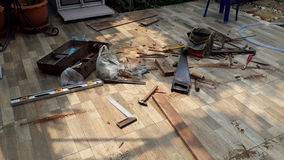 Tools. Carpentry tools The pile on the floor Royalty Free Stock Photo