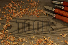 Tools carved in wood with chisels Stock Images
