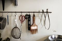 Tools for ceramics hanged  Stock Photos