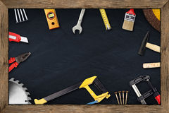 Tools chalkboard Stock Photo