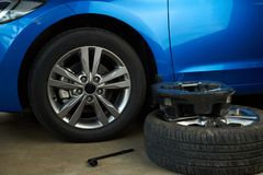Tools for changing car wheel. Car repair service Royalty Free Stock Photos