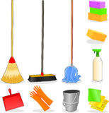 Tools for cleaning. Vector icons that represent tools for cleaning home Stock Photo
