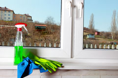 Tools for cleaning windows Royalty Free Stock Image