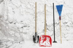 Tools for clearing snow. Stock Images