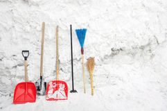 Tools for clearing snow. Stock Photos