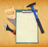 Tools and clipboard Royalty Free Stock Images