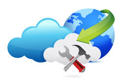 Tools and cloud computing moving concept Stock Photography