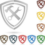 Tools coat of arms, collection, locksmith and mechanic logo Royalty Free Stock Image