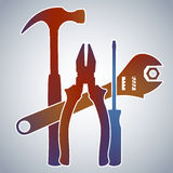 Tools Collection. Color Gradient Silhouette Illustration of Hammer, Pliers, Screwdriver and Wrench Stock Image