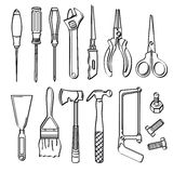 Tools Collection. A collection of different kinds of tools in sketch style. It contains hi-res JPG, PDF and Illustrator 9 files Stock Photography