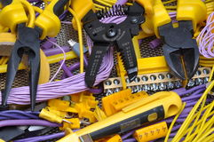 Tools and component for electrical installation Royalty Free Stock Photo