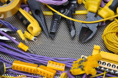 Tools and component for electrical installation Royalty Free Stock Image