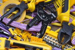 Tools and component for electrical installation Royalty Free Stock Photography