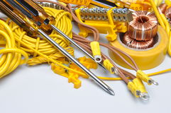 Tools and component for electrical installation Stock Photography