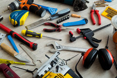 Tools and component kit stock photos