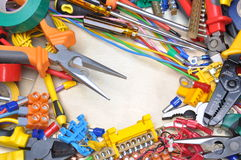 Tools and component kit. For use in electrical installations Royalty Free Stock Image