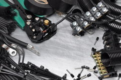 Tools and component kit for use in electrical installations Stock Photo