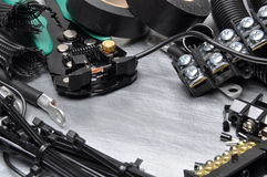 Tools and component kit for use in electrical installations Royalty Free Stock Photography