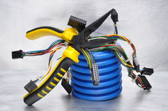 Tools and components of electrical installations Royalty Free Stock Image