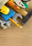 Tools construction and bag Royalty Free Stock Photos