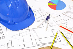 Tools for construction drawings Royalty Free Stock Image