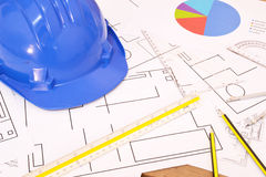 Tools for construction drawings Royalty Free Stock Images
