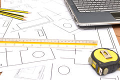 Tools for construction drawings Royalty Free Stock Photos