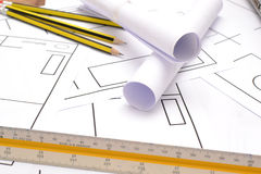 Tools for construction drawings Royalty Free Stock Photo