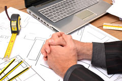 Tools for construction drawings Stock Photo