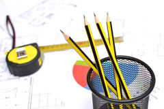 Tools for construction drawings Stock Photos