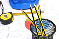 Tools for construction drawings Stock Images