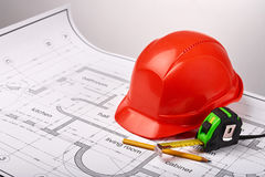 Tools and construction drawings Stock Images