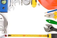 Tools and construction equipment on white Stock Image